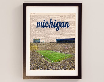 Michigan Wolverines Dictionary Art Print - Michigan Stadium - Print on Vintage Dictionary Paper - Football Art, University of Michigan
