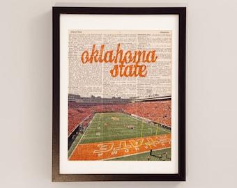 Oklahoma State Cowboys Dictionary Art Print - Boone Pickens Stadium, Stillwater, Oklahoma - Vintage Dictionary - OSU Cowboys Football