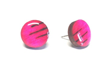 Hot Pink earrings, Wood stud earrings. Round wood earrings, Wood studs, Wood earrings, Pink round earrings