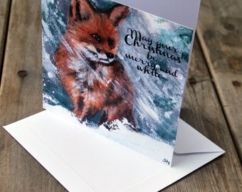 """Christmas card """"Little FOX in the SNOW"""" based on original painting"""