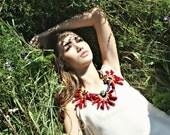 Natural Red Coral Statement Bib Necklace.Gemstone Rope Statement Necklace.High Fashion.Extravagant Design