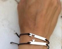 Silver bracelets, Mother Daughter Bracelets, sisters bracelets, best friends bracelets, Set of 2, Mother Daughter Gift, Simple bracelet