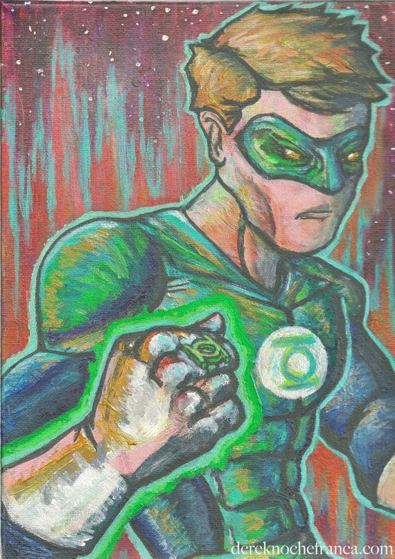 ORIGINAL Green Lantern painting