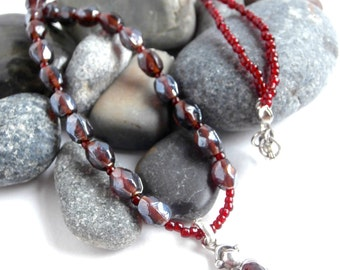 Sterling Silver Pendant - Red Garnet - Repurposed - Glass Beads