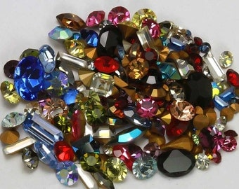 Huge Loose Swarovski Rhinestone Lot Fancy Mix 10pp - 34SS - Vintage First Quality Crystal - Mixed Colors Shapes & Sizes - 5 Grams