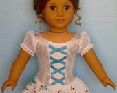 "Turquoise Embroidered White and Silver Ice Skating Dress for American Girl and Other 18"" Dolls"