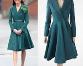 Dark green coat inspired by Duchess Kate Middleton