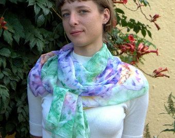 Bohemian extra long colorful scarf Hand-painted shibori summer scarf boho Floral multicolor green pink yellow lilac Abstract Flower 210x40cm