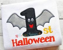 1st First Halloween Bat  Digital Machine Embroidery Applique Design 3 Sizes