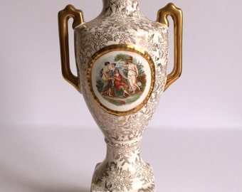 Vintage Lidded Urn with Mythology Scene & Gold Accents by Empire Porcelain, 11.5 Tall