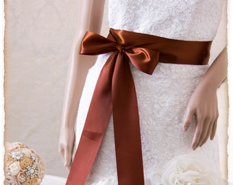 FRIAR BROWN Bridal Sash, Satin Ribbon Sash, Wedding Sash, Bridesmaids Sash, Bridal Belt, Satin Bridal Sash