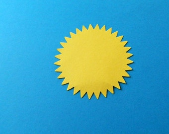 Die Cut Sun, extra large paper embellishment, choose qty & color, Diy card making or other craft supplies, Over 2 inch diameter 56 mm