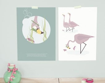 Set of 2 art prints - flamingo | children - nursery | A4 - 8.27 x 11.69 inches
