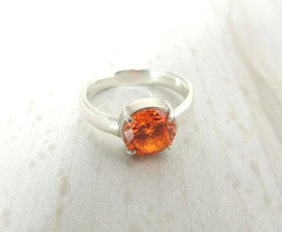 orange gemstone ring solitaire ring orange by shemijewelry