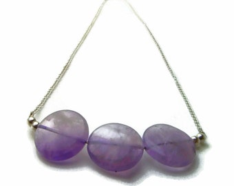 Amethyst necklace, amethyst pendant, amethyst silver, purple silver, natural stone, purple pendant, chain necklace