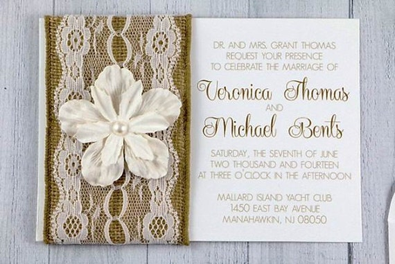 Cheap Shabby Chic Wedding Invitations: Items Similar To Burlap Lace Wedding Invitation