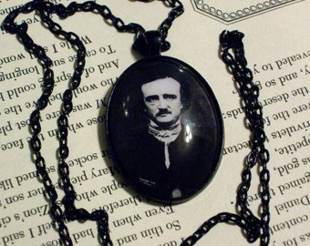 Edgar Allan Poe Necklace - Black Pendant Setting and Rolo Chain - 30x40mm Glass Cabochon