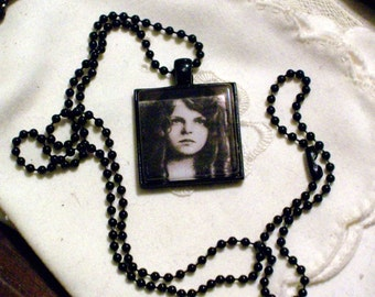 Victorian Little Girl Necklace - Black Pendant Setting and Ball Chain - 25mm Square Glass Cabochon