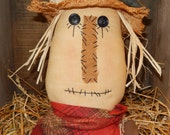 "Prim Scarecrow Head with Crow Fall Decor - 15"" tall with Grungy Hang Tag    Ready to Ship"