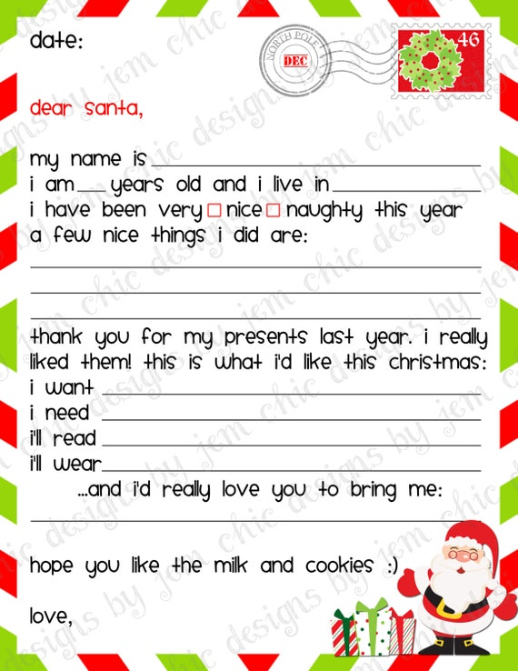 ... Dear Santa Letter - INSTANT DOWNLOAD Secret Santa Wish List Form