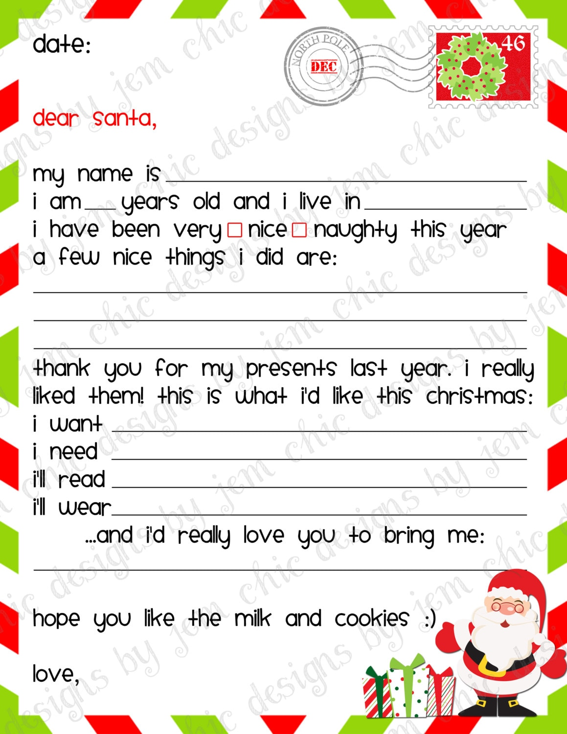 dear santa letter template free - kids christmas wishlist printable dear santa by