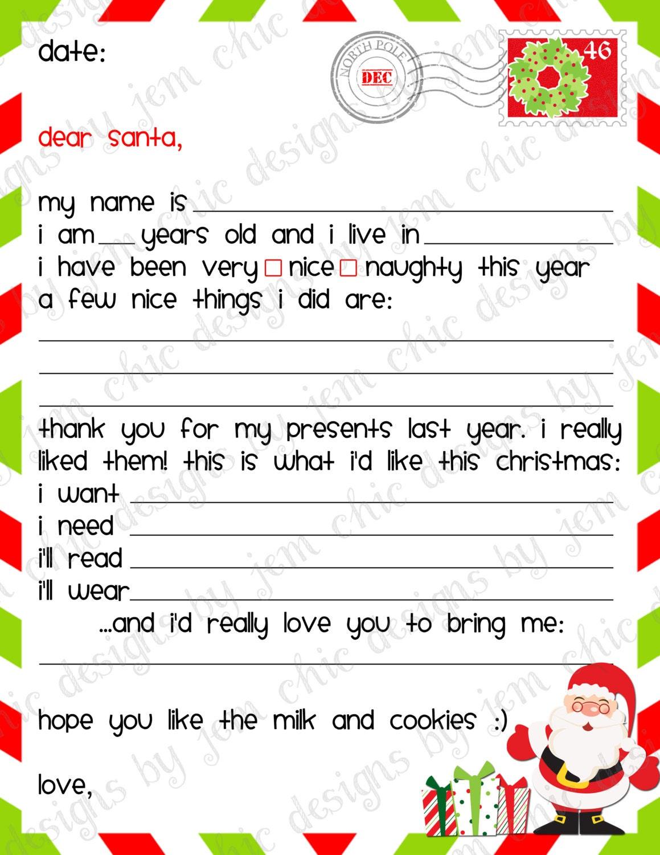 xmas list template – Printable Christmas Wish List Template