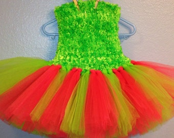 Lime green and coral tutu with fluffy crocheted top
