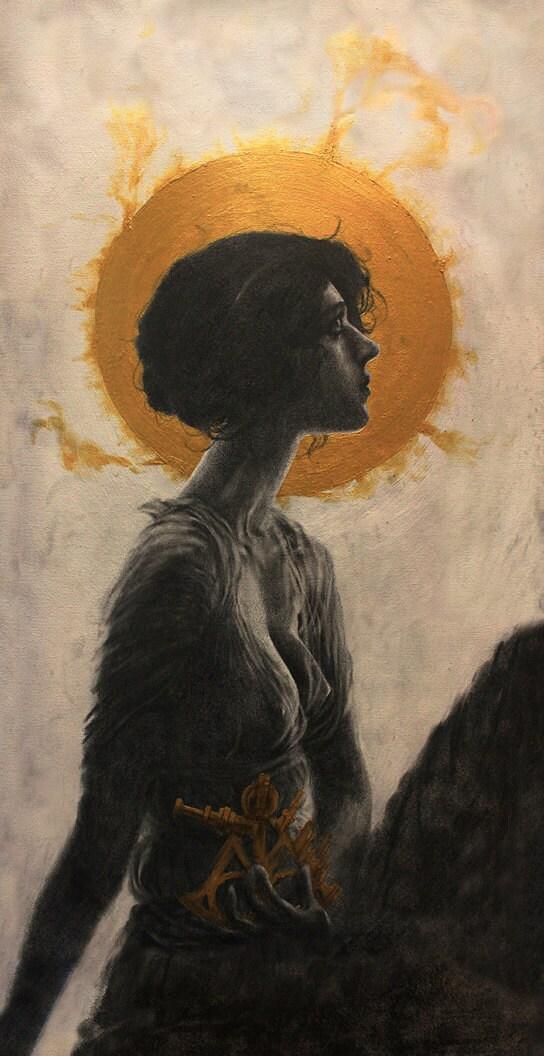 Hypatia Illustration Graphite On Canvas Art Print