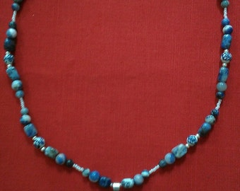 delft: beaded necklace featuring sodalite, porcelain, silverplate, and white glass beads
