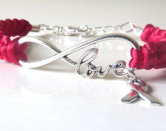 Red LOVE Awareness Ribbon Charm Bracelet Heart Disease HIV AIDS Epidermolysis Bullosa Dui Dare Optional Hand Stamped Letter Charm