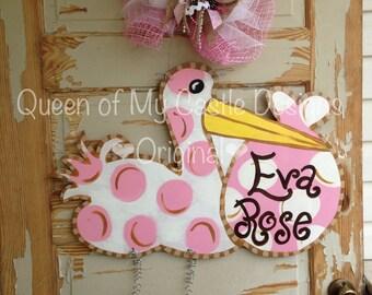 Birth Announcement Door Hanger - Hospital Door Hanger - Personalized Door Hanger - Baby Girl Gift - Baby Shower gift - Stork Sign