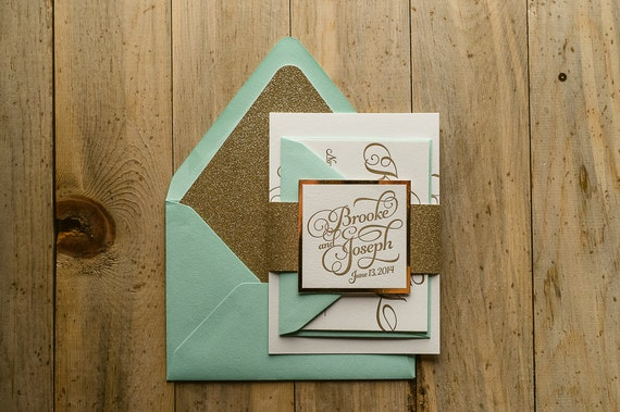 mint & gold glitter wedding invitation gold glitter wedding,