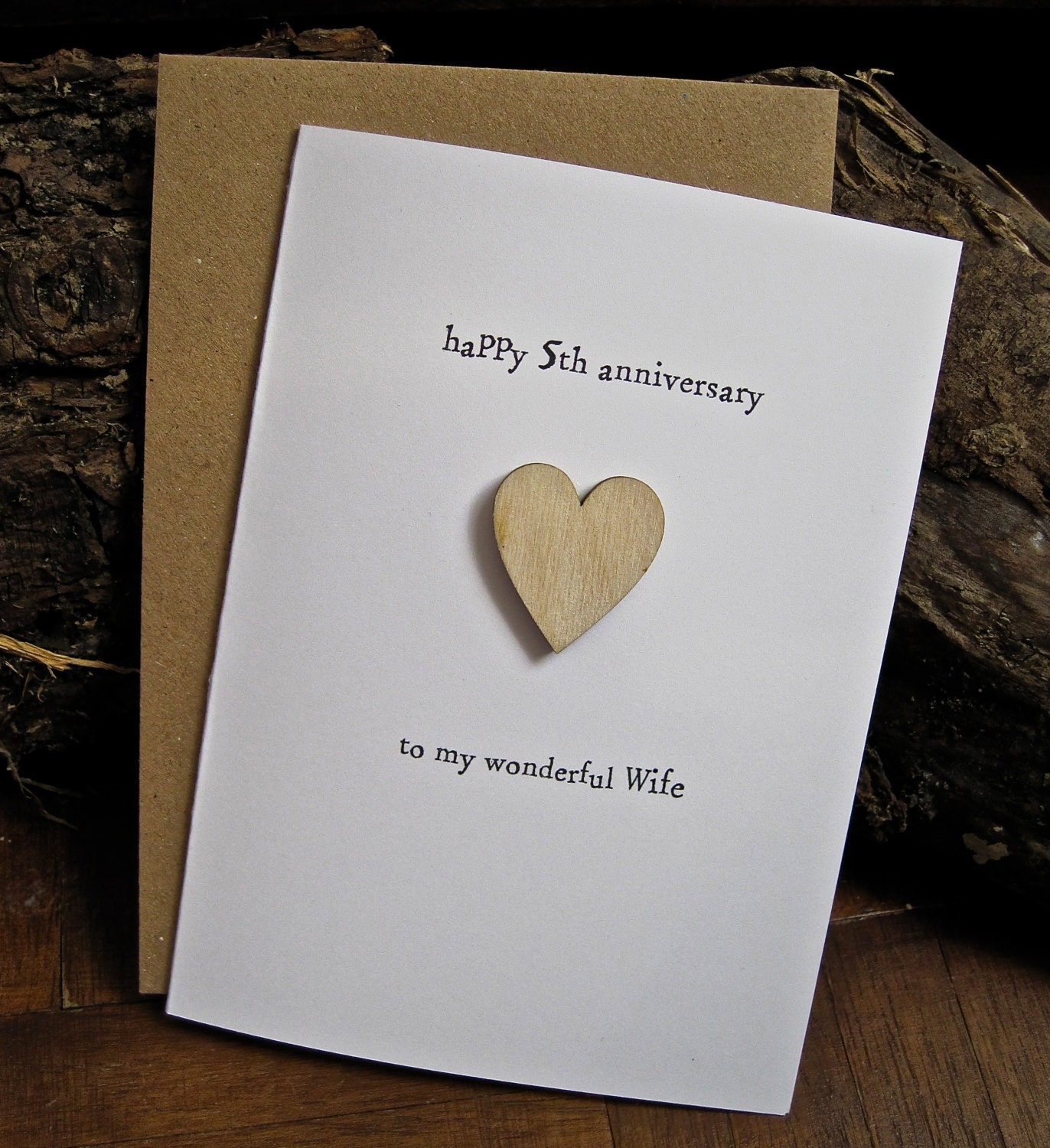 Traditional 5th Wedding Anniversary Gifts: 5th Wedding Anniversary Card WOOD Traditional By ArtBySeezal