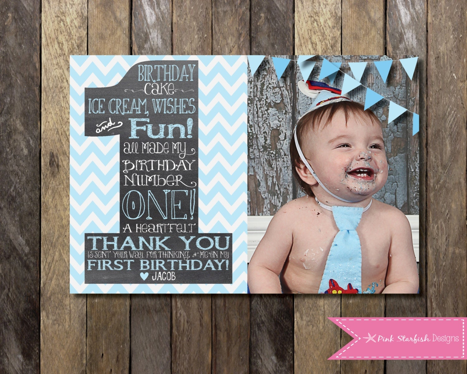 Chevron thank you – 1st Birthday Thank You Cards