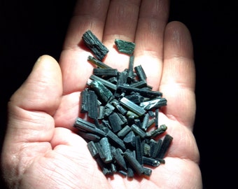 Black / Green / Blue Tourmaline  Raw Assorted  xSmall Shards  -   One  BAG for 3.88  - 7.0gm wt.