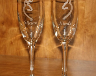 Etched Individual Buck and Doe Wedding Champagne Flutes - Browning