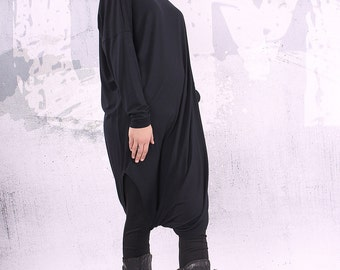 Black extravagant loose oversized plus size union suit - CL005