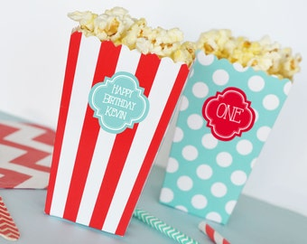 Carnival Popcorn Boxes Kids Birthday Popcorn Box Favor Box- Personalized Popcorn Boxes - Circus Birthday Treat Boxes 2| (EB4008P) 24 pcs