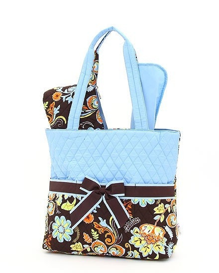Large Quilted Floral Brown And Blue Pattern 3pc Diaper Bag Set. Changing Pad Necessities Pouch ...