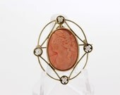 10K Gold Coral Cameo Convertible Brooch/Pendant with Pearl accents