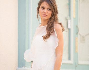 Bridal cape 100% silk  Made in France - ALEXANDRA