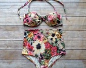 Twist Bandeau Bikini - Vintage Style High Waisted Pin-up Swimwear - Amazing Floral Print - Unique & So Cute!