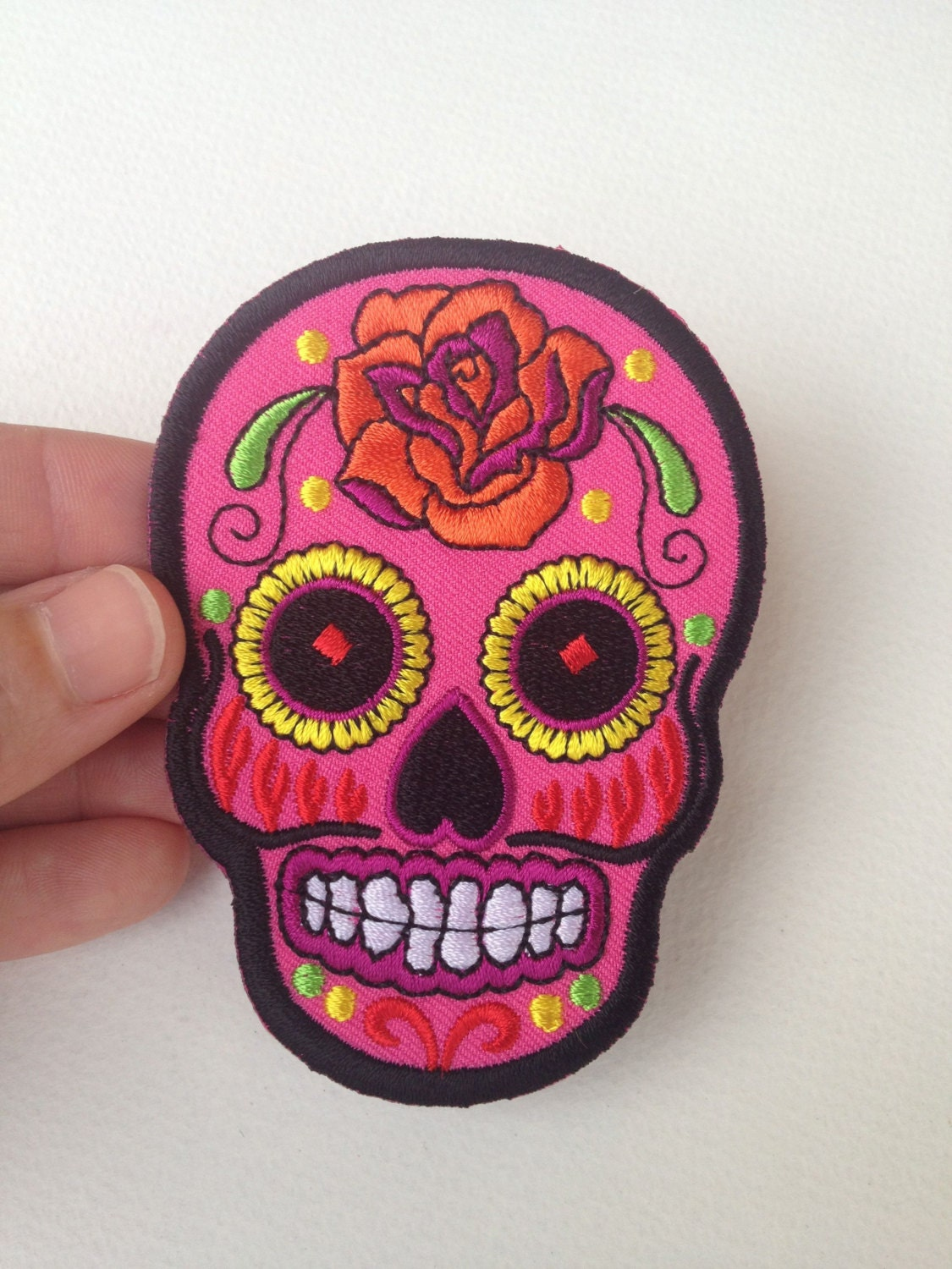 Iron-On Sugar Skull Patch