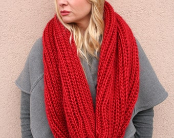 Super soft INFINITY SCARF handknit in Cherry Red