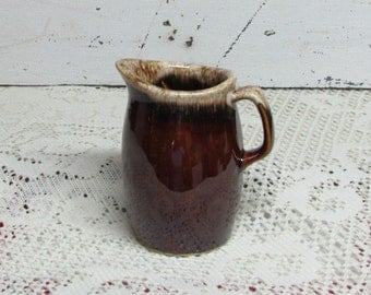 Vintage Hull Pitcher or Creamer Brown Drip Pottery