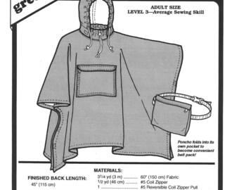 Sewing Pattern - Poncho Pattern, Rain Poncho Patten, Travel Poncho Pattern, Green Pepper Patterns - GP 511