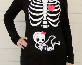Halloween Skeleton Shirt, Halloween Costume Tshirt, Skeleton Baby GIRL Pregnancy maternity Shirt