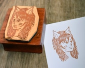 Fox Girl Hand-Carved Rubber Stamp - mounted on wooden handle - 2x2 in.