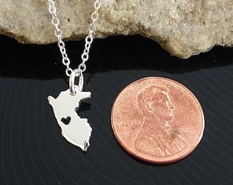 Tiny Sterling Silver Peru Necklace / Custom Heart / Small Peru Necklace / Love Peru / Country Necklace / Peru Wedding