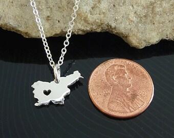 Tiny Sterling Silver Slovenia Necklace / Custom Heart / Small Slovenia Necklace / Love Slovenia  / Country Necklace / Slovenia Wedding